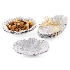 Embossed Shells White Mini Bon Bon Serving Bowls