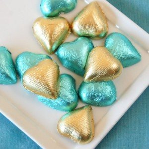 Metallic Foil Wrapped Chocolate Hearts