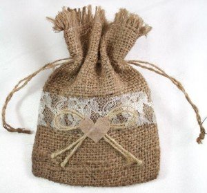 Natural Burlap Favor Drawstring Bags