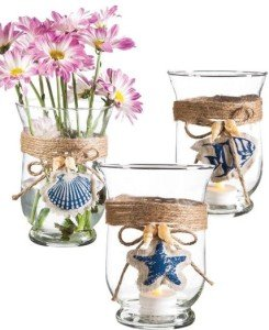 Nautical Glass with Burlap Candle Holders