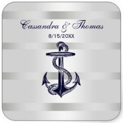 Nautical Navy Blue Anchor Wht BG SQ Envelope Seals Square Sticker