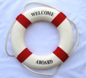 Nautical Welcome Aboard Cloth Life Ring Red 13.5 New - Decoration Only