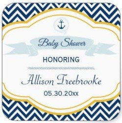 Nautical chevron navy gold baby boy shower