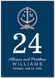Navy Blue and Coral | Wedding Table Number Card Table Cards