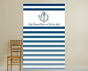 Personalized Photo Booth Backdrop - Kate's Nautical Wedding Collection - Royal Blue Stripe