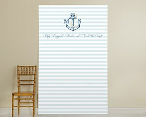 Personalized Photo Booth Backdrop - Nautical Wedding - Light Blue Stripe Anchor