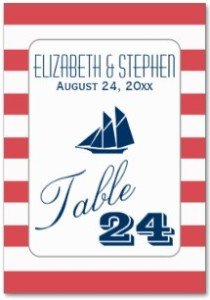 Red Stripes Nautical Wedding Reception Names Table Cards