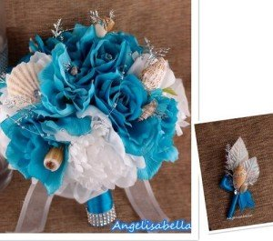 Seashell Wedding Bouquet&boutonniere-beach