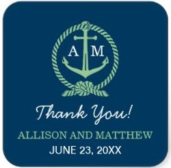 Wedding Thank You Favor Sticker | Nautical Theme
