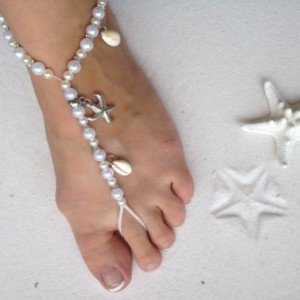 White Barefoot Sandals Beach Wedding Foot Jewelry Anklet with Starfish and Real Seashells