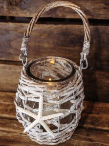 White Starfish Basket Lantern with Glass Vase and Candle Holder