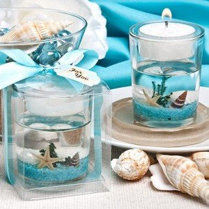beach-themed candle favor