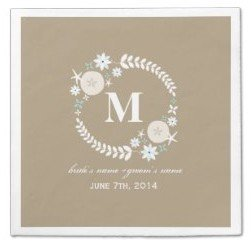 monogram beach wreath wedding napkins