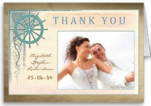 nautical wedding thank you card with photo
