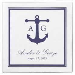 nautical navy wedding napkins