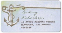 vintage address label with nautical anchor