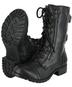 Black Lace Up Combat Boot