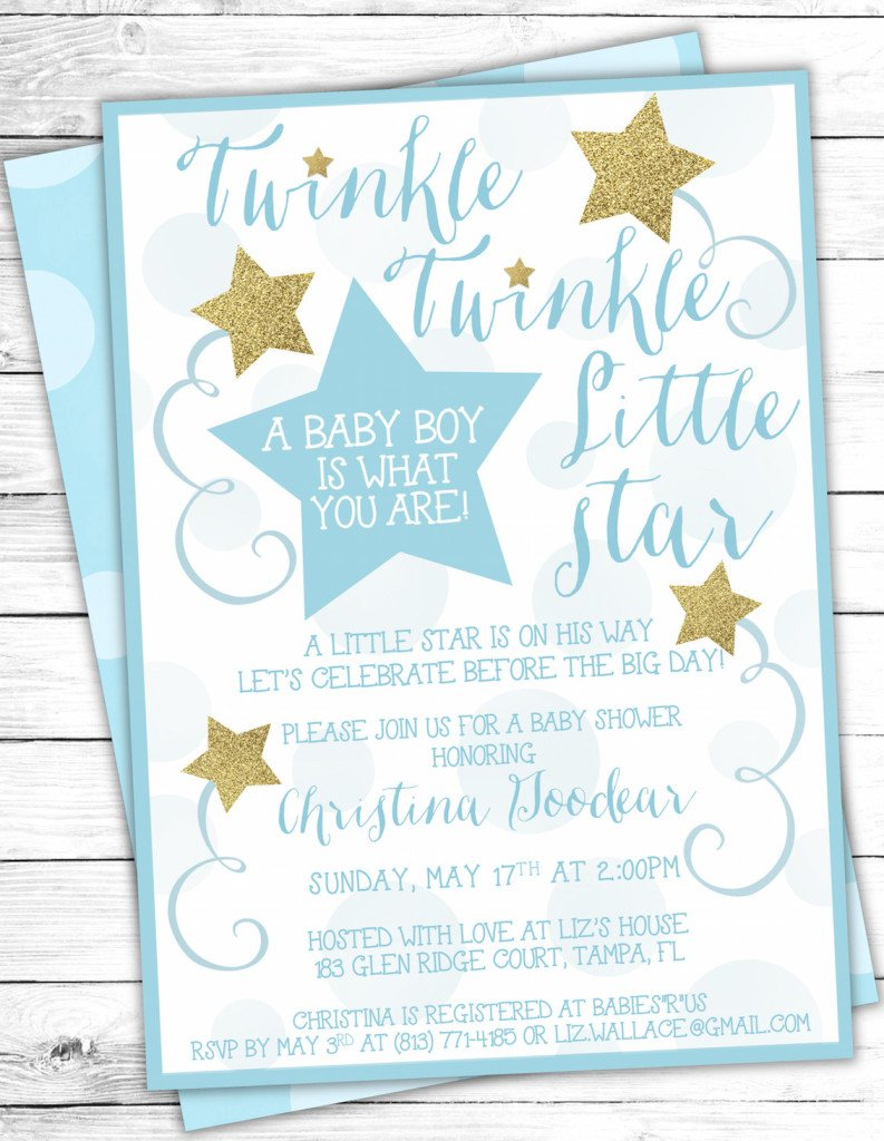 Blue Gold Twinkle Twinkle Little Star Baby Shower Invites