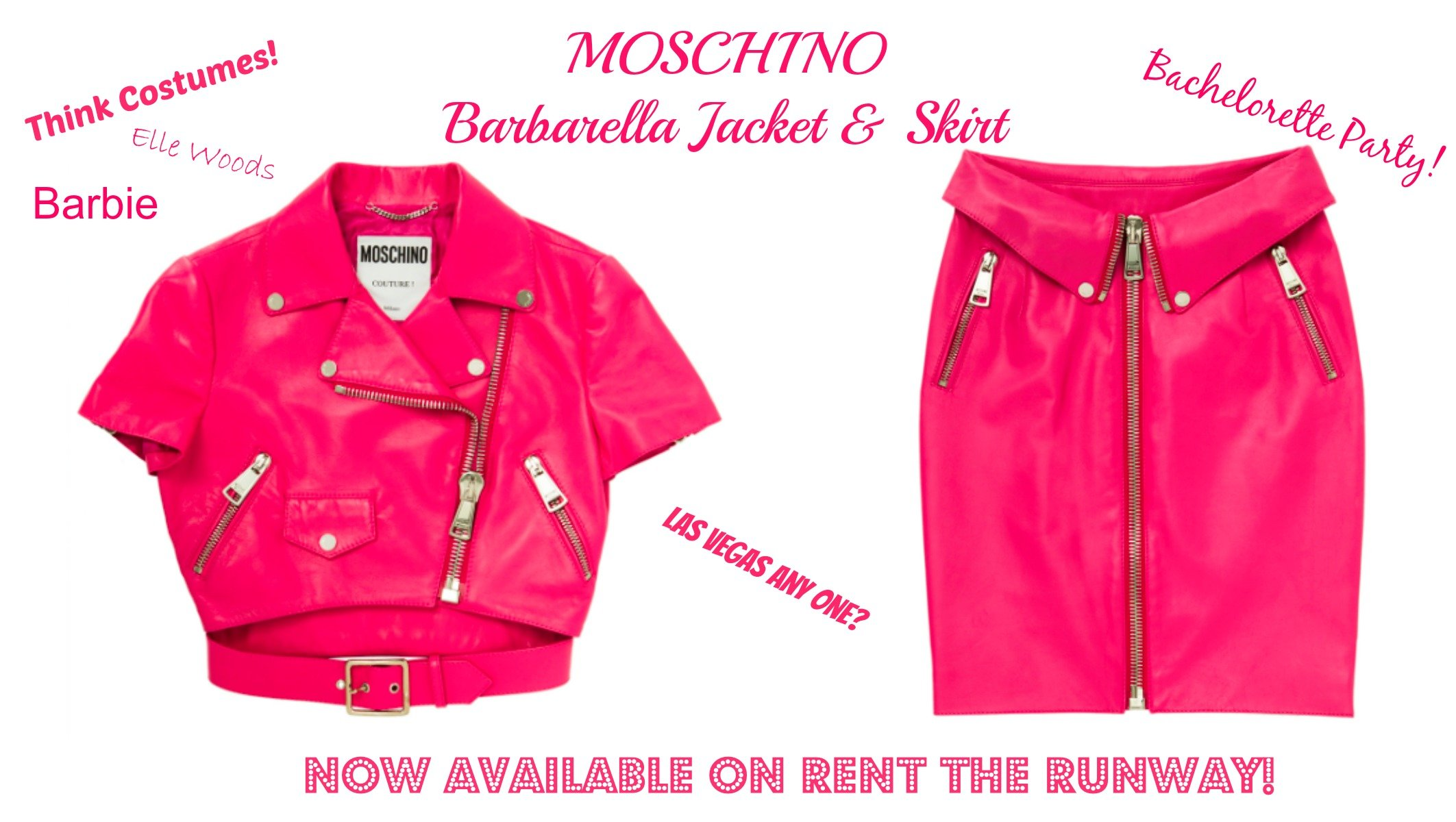 MOSCHINO Barbarella Jacket & Skirt, Barbie costumes, Elle Woods costumes, party pretty