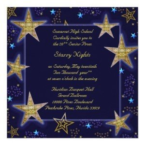 Starry Night in Celestial Blue and Gold Prom Invite