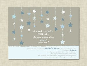 Twinkle Little Star Blue Baby Shower Invitation