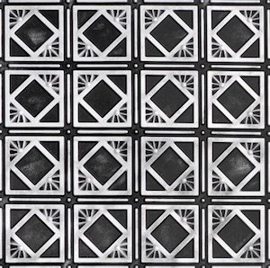 Faux Tin Ceiling Tile in Black and Silver