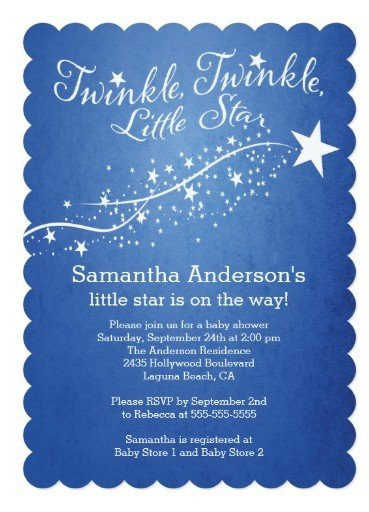 Modern little star baby shower invitation