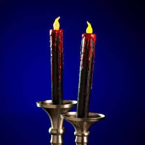 Black LED Blood Dripping Candles Zombie Party Decor