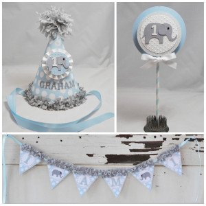 Bllue Elephant Smash Cake Photo Prop Set