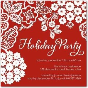Embroidered Holiday - Holiday Party Invitations