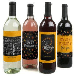 Give Thanks - Custom Holiday Wine Bottle Labels for Thanksgiving