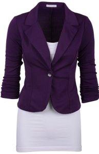 Grand Budapest Hotel Costume Women's Casual Work Solid Purple Blazer