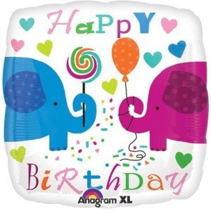 Happy Birthday Elephants Hearts Balloon Foil Balloon