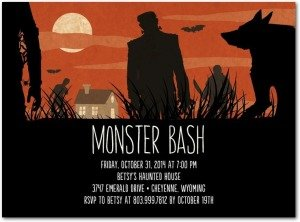 Moonlit Monsters Halloween Party Invitations