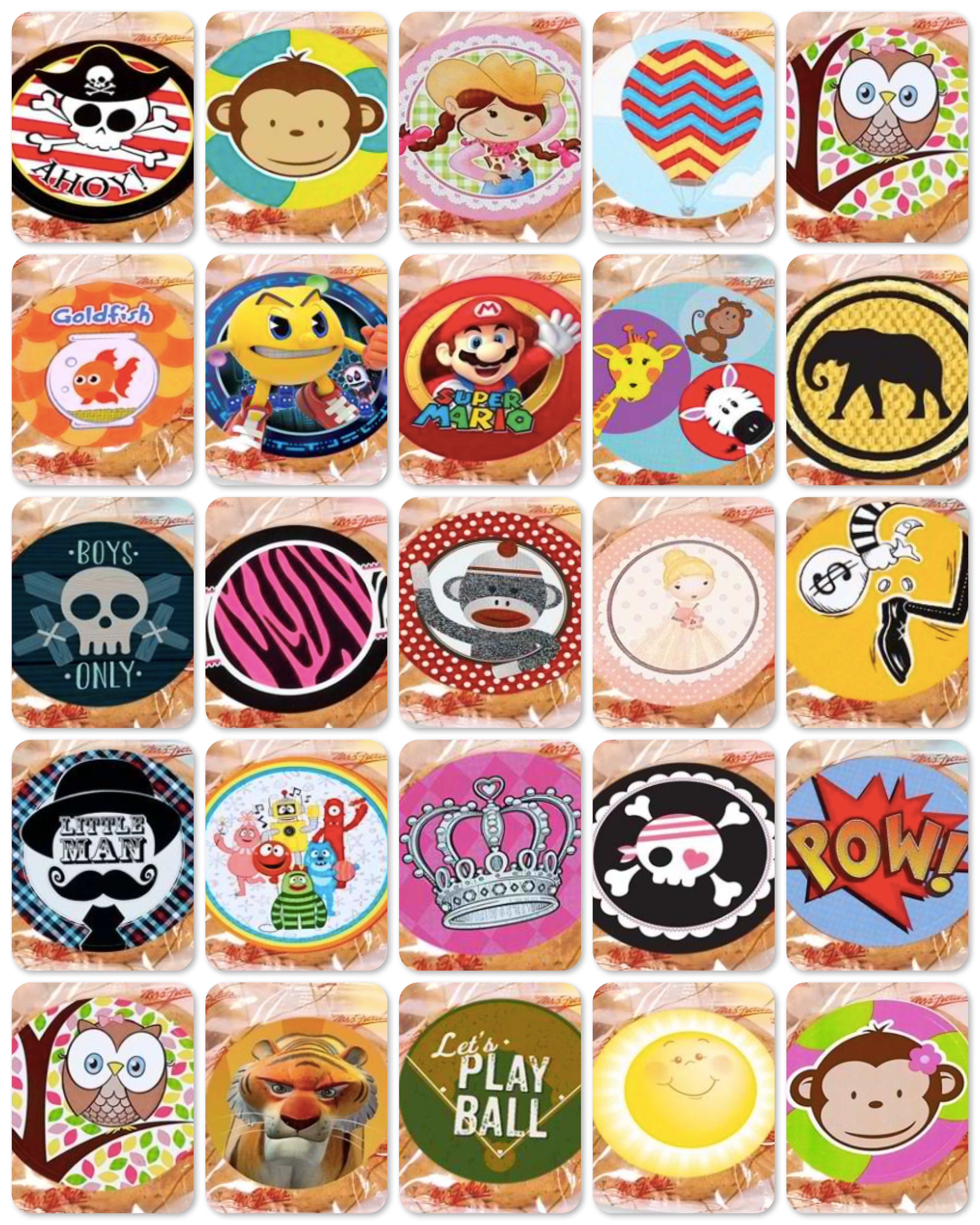 Mrs Fields DIY Party Favors Theme Stickers, Mrs Fields Cookies Party Favors