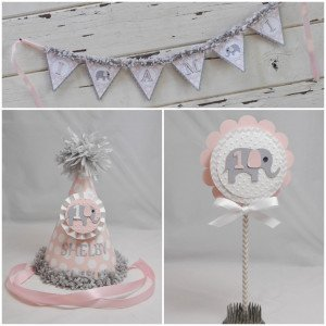 Pink Elephant Smash Cake Set