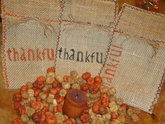 Thanksgiving Burlap Place and Silverware Utensil Holder