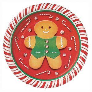 Gingerbread Man Christmas Paper Dessert Plates