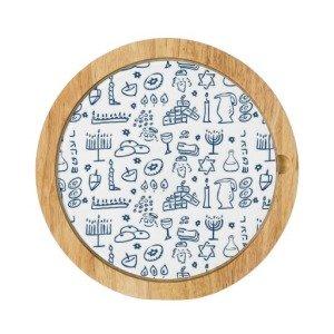 Hanukkah Symbols Pattern Round Cheeseboard