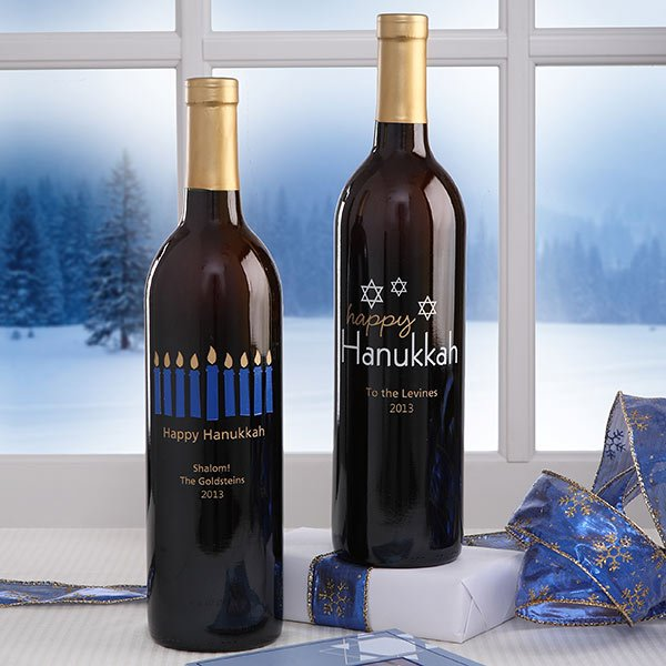 Personalized Happy Hanukkah Wine Art
