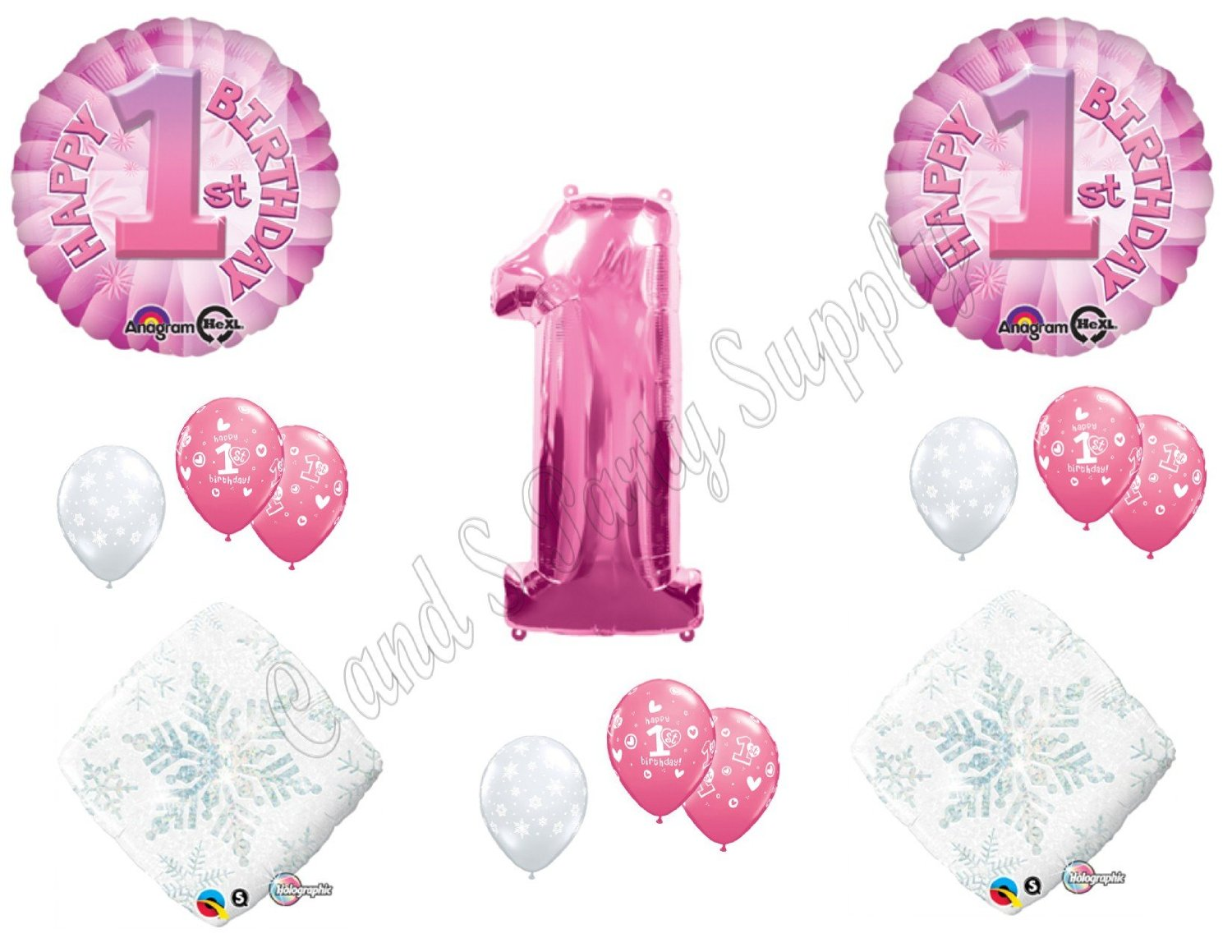 Pink Winter One-derland 1st Birthday party Balloons