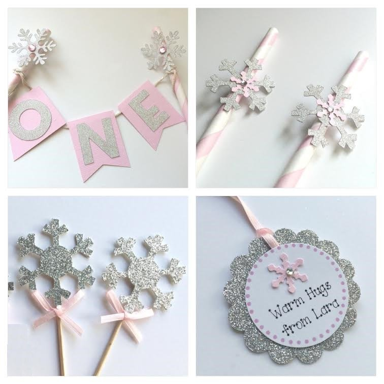 Pink and Silver Snowflake Winter One-derland Party Package