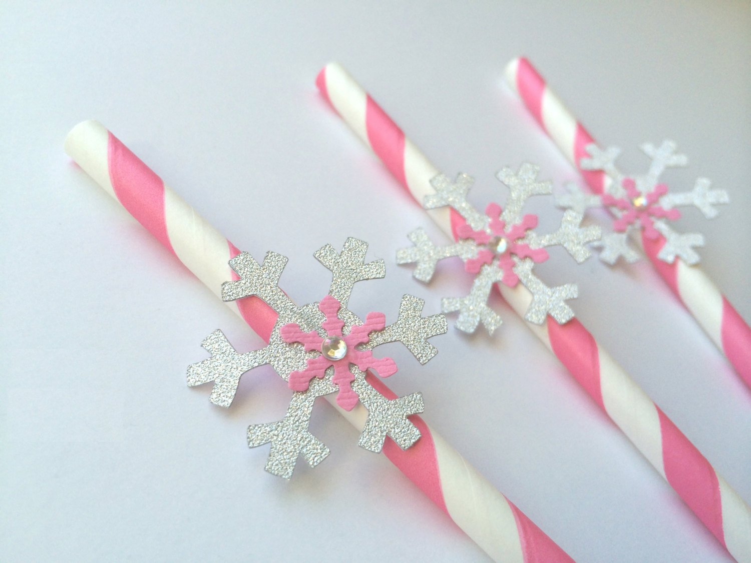 Pink & Silver Snowflake Winter Oner-derland Straws Decorations