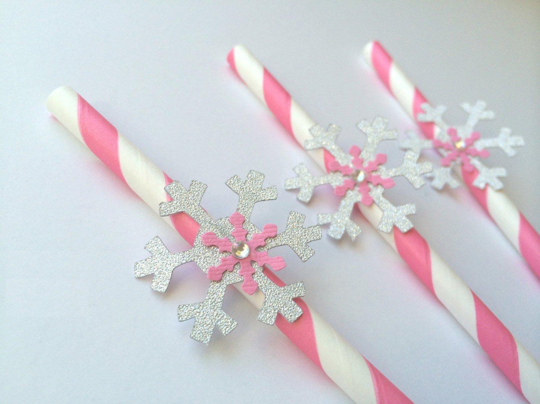 Pink & Silver Snowflake Winter Oner-derland Straws Decorations