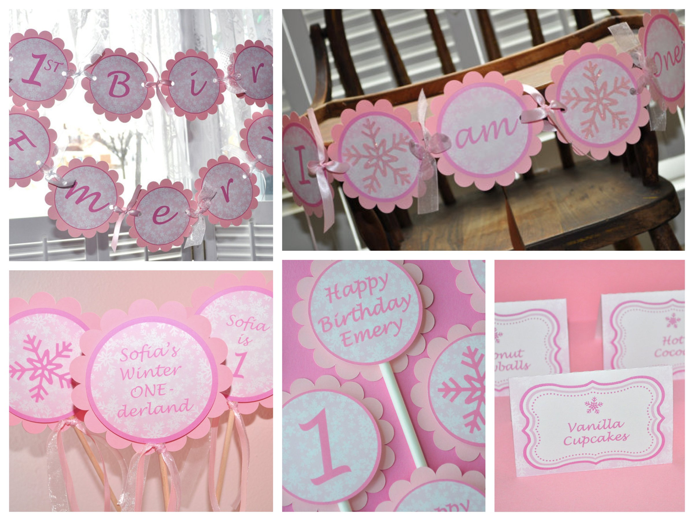 Pink Snowflake First Birthday Party Supplies