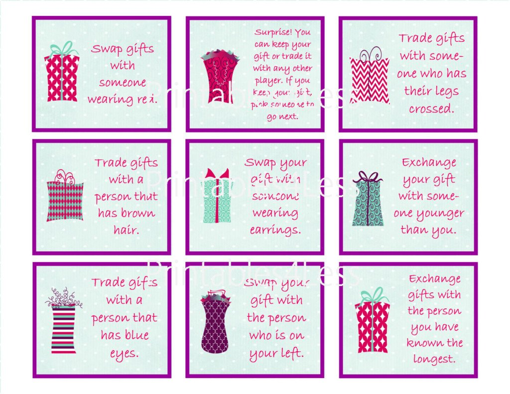 Printable Gift Exchange Party Games