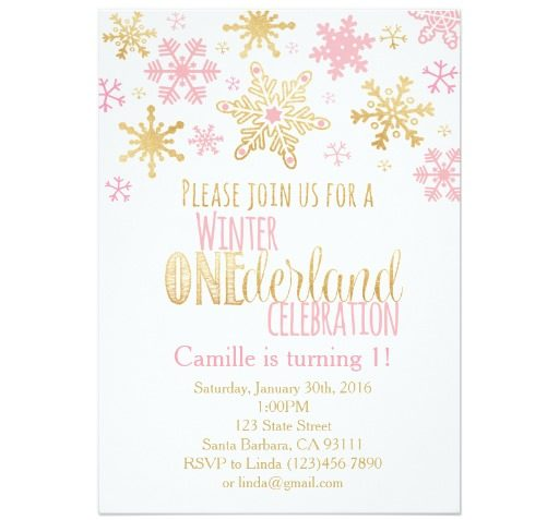 Snowflakes Winter ONEderland Birthday Invitation