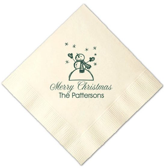 Snowman Merry Christmas Printed Cocktail Napkins