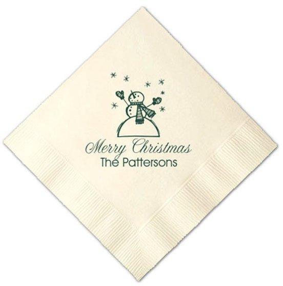 Snowman Merry Christmas Printed Cocktail Napkins