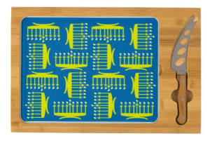 Star Menorahs Rectangular Cheese Board